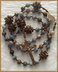 "Rosary - Wood, Natural Agate, and Bronze - ""Snow Clouds"" - Handmade by Still Stone and Moss, Prayer Bead Art"