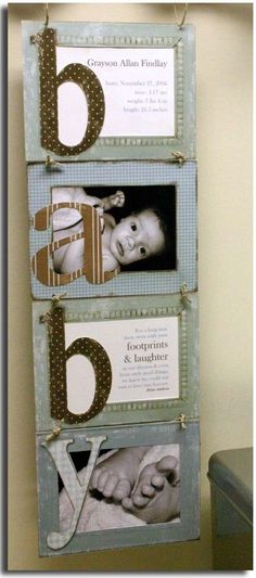 4 inexpensive frames with fabric on them. Bows added to hold the frames together. Birth announcement in the top frame and a poem in the third. Letters covered in fabric. The link to this links back to a recipe? I just wanted to keep the idea for future reference.