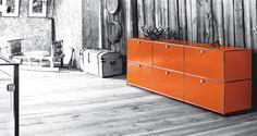 USM Haller sideboard in pure orange. www.usm.com