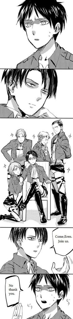 Attack on Titan ~ lol Levi and them look like OHSHC when Haruhi first discovered them XD <3