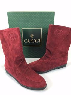 Gucci Womens 40 B EU 10US Red Suede Flat Mid-Calf Pull-On Boots Made in Italy #Gucci #MidCalfBoots #Casual