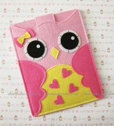 "Samsung Galaxy tab 3 case, Kindle Fire HD 7, Google Nexus 7 case,Kindle cover, Nook cover, Tablet case, Kindle Fire sleeve, ""pink heart owl"""
