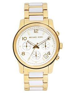 Michael Kors Runway White And Gold Strap Chronograph Watch Mk Watch, Gold Watch, Best Sports Watch, Watches Online, Sport Watches, Quartz Watch, Fashion Watches, Michael Kors Watch, White Gold