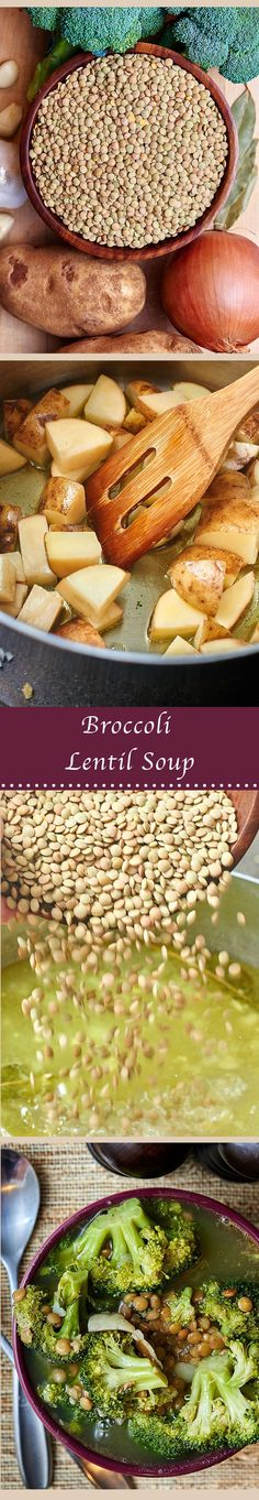 This vegan broccoli lentil soup is so flavorful and filled with broccoli, lentils, and potatoes! The perfect healthy and filling soup to keep you warm this winter! showmetheyummy.com #vegan #broccoli #lentil #potatoes #soup #meatless