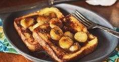 Decadent french toast with home made caramel sauce and bananas, an easy to make gourmet breakfast you can make at home.
