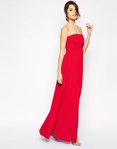 €89, Vestido Largo Rojo de Asos. De Asos. Detalles: https://lookastic.com/women/shop_items/144073/redirect