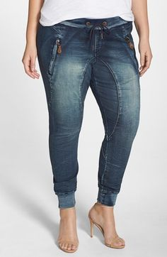 Plus Size Knit Denim Jogger Pants