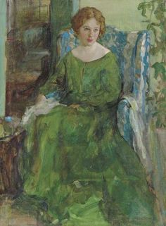 """""""Girl in a Green Dress"""" by American Henry Salem Hubbell (1870–1949)."""