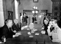 Mohammad Reza Shah meets Marshal Bulganin at a Kremilin conference, July 3, 1956.