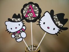 Cowgirl Hello Kitty Centerpieces/ Caketoppers (total of 6 stakes). $10.00, via Etsy.