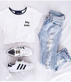 t-shirt shirt adidas shoes ripped jeans white black black and white