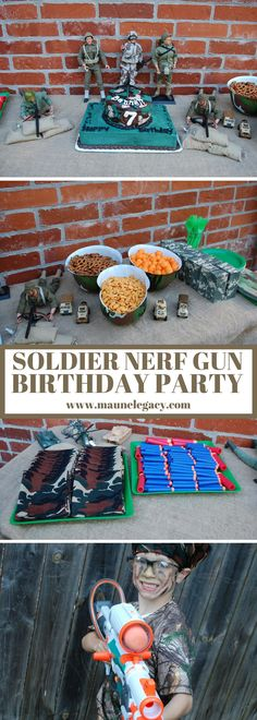 Soldier Nerf Gun Birthday Party ideas for the kid that loves soldiers, nerf guns, and nerf gun wars.