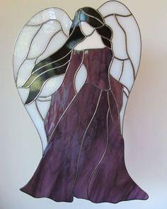 Angel Stained Glass Suncatcher available on Etsy! WWW.Etsy.com/shop/wistfulfancy #stainedglass #suncatcher #art #artist #chibi #kawaii #angel # wings #beauty