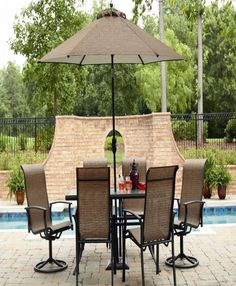 Outdoor Dining Set 7 Piece Brown Chairs Table Pool Garden Yard Patio Furniture #OutdoorDiningSet