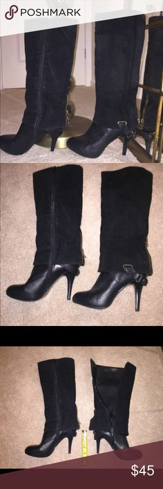 Enamoradoo Nine West Boots Black sz 5.5 Enamoradoo, Leather and Suede, Nine West Boots, Black sz 5.5, no damage to leather, boots are in great condition, heels rubbed from zipper, no damage on toes. Please see all pictures.  Boots are leather and suede.  I am selling these for my best friend, I helped her move and downsize. She lives 10hrs away. Nine West Shoes Heeled Boots