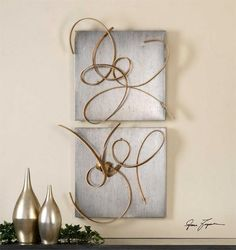 Harmony Metal Wall Art, S/2   Modern Art by Uttermost at Contemporary Modern Furniture Warehouse - 2