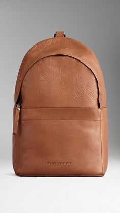 Grainy Leather Backpack From Burberry