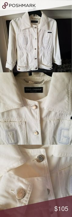 Dolce & Gabbana White Denim Jacket Excellent used condition  Gorgeous jacket !!! Size 44 italian is M in U.S.A. Dolce & Gabbana Jackets & Coats Jean Jackets