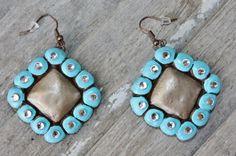 San Benita Turquoise and Champagne Diamond Shape Earrings  $29.95  http://www.giddyupglamouronline.com/catalog.php?item=7217