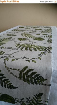 EASTER SALE TABLE Runner grey with green leaves linen by RPlinen