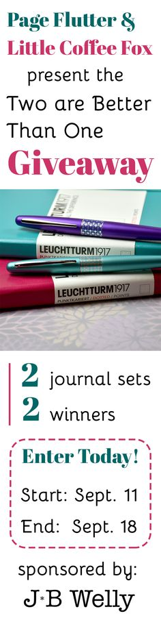 GIVEAWAY Time! We're celebrating J*B Welly's wedding with a giveaway. 2 bullet journal kits, 2 winners. Enter today; ends Sept 18th!