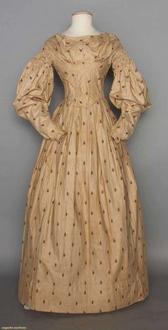 Printed Cotton Dress, C. 1838, Augusta Auctions, May 13, 2015 - Sturbridge, MA, Lot 1017