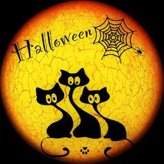 """Halloween Sign Window Cling ~ Stained Glass Color ~ Black Cats ~ Spider Web ~ Full Moon ~ Paw Print ~ Size 8.5"""" or 11"""" by WindowClingsGalore on Etsy"""