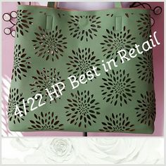Reversible Tote Beige and melon green laser cut reversible tote roomy  Has a hidden magnetic closure and matching zip pouch that provides privacy for your contents Price is firm. MEASUREMENT IN 2nd Picture Easy to reverse I tried and it looks great on either side under one sky Bags Totes