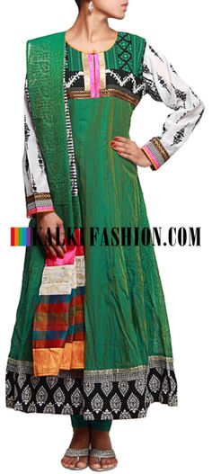 Buy Online from the link below. We ship worldwide (Free Shipping over US$100)  http://www.kalkifashion.com/green-anarkali-suit-featuring-with-kantha-embroidery-only-on-kalki.html