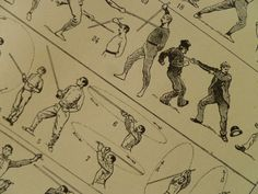 Antique French print about Canne and Baton - 1905 old pictures of baton stick - fight fighting with sticks gevechtsstok 23x31cm/9x12''