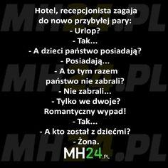 Hotel, recepcjonista zagaja do nowo przybyłej pary… – MH24.PL – Demotywatory, Memy, Śmieszne obrazki i teksty, Filmiki, Kawały, Dowcipy, Humor Funny Memes, Jokes, Smile Everyday, Texts, Lol, Humor, Madeleine, Searching, Husky Jokes