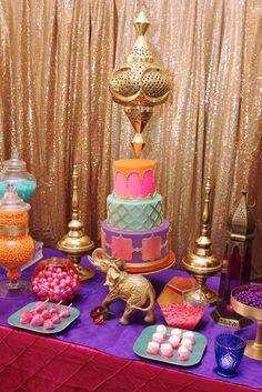 Travel to the Middle East with this great Arabian Nights Bridal Shower! The cake is stunning! See more party ideas and share yours at CatchMyParty.com