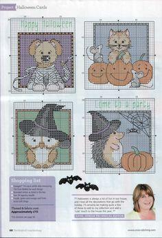 Cute Halloween animal cross stitch patterns. #Halloween #cross_stitch #patterns