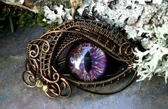 Gothic Steampunk Bronze Evil Eye Pendant Red Blue Gold and Purple