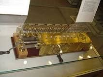 The step reckoner (or stepped reckoner) was a digital mechanical calculator invented by the German mathematician Gottfried Wilhelm Leibniz around 1672 and completed in 1694. The name comes from the translation of the German term for its operating mechanism, Staffelwalze, meaning 'stepped drum'.