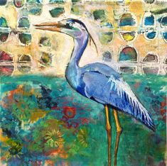 Blue Heron by Jill Berry -  deli paper printed on the Gelli Plate at the top of painting. Cut out piece of paper for the bird, which was then painted over.