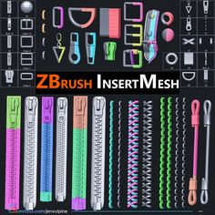 This Insert Mesh collection of brushes that will be useful if you need to add details on clothes or pouch. Three different zippers created for better bake and also with UV if you going to use it differently or for applying alpha textures on fabric strip. All brushes are ready for subdivide level, ZBrush 2018.1. Test Card, Fabric Strips, Text You, Zbrush, Mesh, How To Apply, Texture, Zippers, Pouch