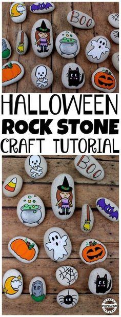 Halloween Rock Painting Idea For Kids · The Inspiration Edit Painting rocks is a big thing and here is a fantastic Halloween Rock Painting Idea For Kids as a decoration or maybe even a set of story stones. Halloween Rocks, Easy Halloween, Halloween Crafts, Halloween House, Halloween 2017, Halloween Decorations, Pebble Painting, Pebble Art, Stone Painting