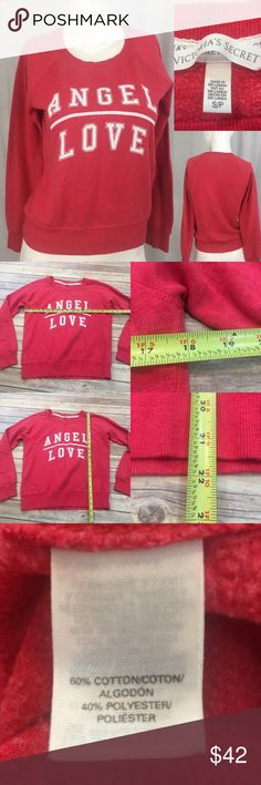 "🍒Sz Small Victoria Secret ""Angel Love"" Sweatshirt Measurements are in photos. Normal wash wear, slight fading and cracking in the lettering. No other flaws. E2/42  I do not comment to my buyers after purchases, due to their privacy. If you would like any reassurance after your purchase that I did receive your order, please feel free to comment on the listing and I will promptly respond.   I ship everyday and I always package safely. Thank you for shopping my closet! Victoria's Secret Tops…"