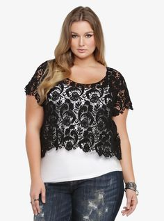 We love lace. Like, a lot. Including this flirty, see-through black crop top in soft, floral lace. Layer it over a black cami or a contrasting color to show off that pretty, scalloped hem.$38.50