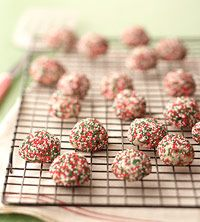 Christmas Sandies recipe from Better Homes & Gardens. Cranberries and citrus, covered in nonpareils.