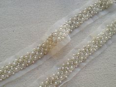 1 Yard Wedding Trim Ivory Pearl Beaded Trim by prettylaceshop