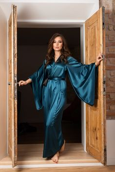 Green Kimono, Green Silk, Pyjama Satin, Satin Nightie, Satin Sleepwear, Satin Lingerie, Vintage Lingerie, Selena, Silk Kimono Robe