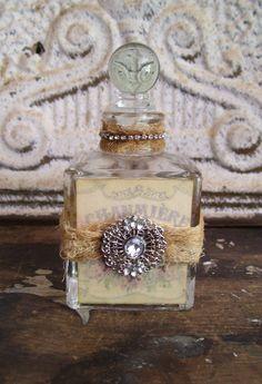 Romantic shabby cottage decorated bottle prairie style French chic perfume vintage. $12.00, via Etsy.