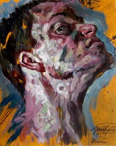 Jakub Kujawa {contemporary #expressionist art male head man face portrait profile abstraction #impasto texture grunge painting} Snooty !!