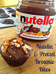 Nutella frosted brownie bites with pretzel crust!!!!
