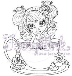 Gabbie the Rose Tea Faery Fairy Fantasy Teacup Roses by FaeryInk