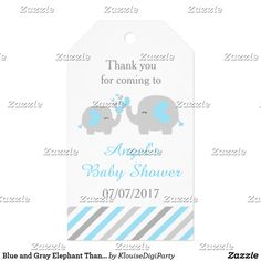Blue and Gray Elephant Thank You Baby Shower Gift Tags