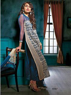 #Designer Plazoo Suits#Blue & Beige #Indian Wear#Desi Fashion #Natasha Couture#Indian Ethnic Wear#Indian Suit