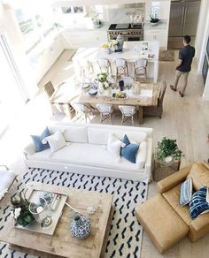 118 Marvelous Modern Farmhouse Dining Room Design Ideas - Page 2 of 120 Coastal Living Rooms, Living Room White, Chic Living Room, Home Living Room, Interior Design Living Room, Apartment Living, Dining Living Room Combo, Living Room Open Concept, Living Room Layouts